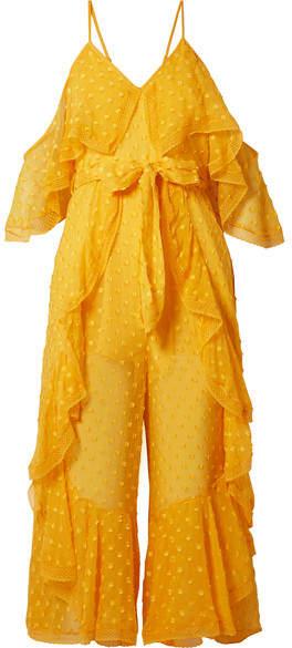 Alice McCall What You Waiting For Lace-trimmed Fil Coupé Silk-blend Chiffon Jumpsuit - Saffron