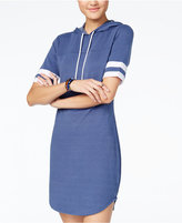 Ultra Flirt Juniors' Striped-Sleeve Hoodie Dress