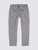 Marks and Spencer Tie Waist Checked Trousers (3-14 Years)