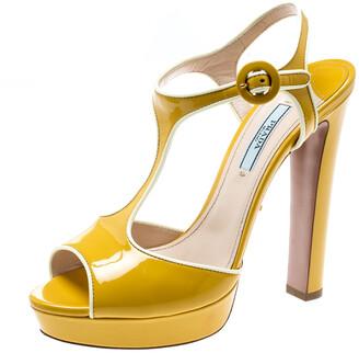 Prada Yellow Patent Leather T-Strap Platform Sandals Size 37.5