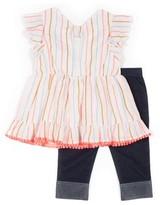 Little Lass Neon Stripe Flutter Sleeve Top and Knit Denim Legging, 2-Piece Outfit Set (Little Girls)