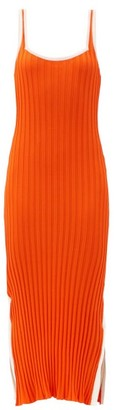 Solid & Striped The Kimberly Side-slit Ribbed-jersey Midi Dress - Orange White