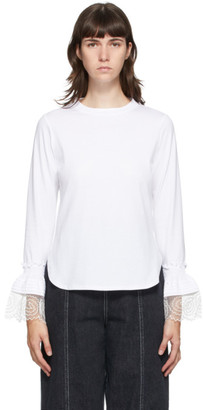 See by Chloe White Frill Long Sleeve T-Shirt