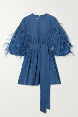 Valentino Feather-embellished Cotton-blend Faille Mini Dress - Blue