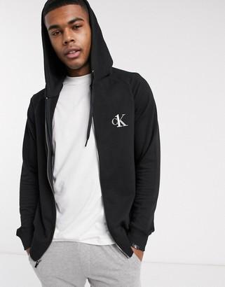 Calvin Klein One basic lounge terry zip thru hoodie in black
