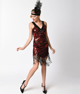 Dreamgirl Red & Black Sequin Dames Like Us Fringe Flapper Costume
