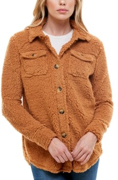 Derek Heart Juniors' Faux-Sherpa Button-Front Shirt