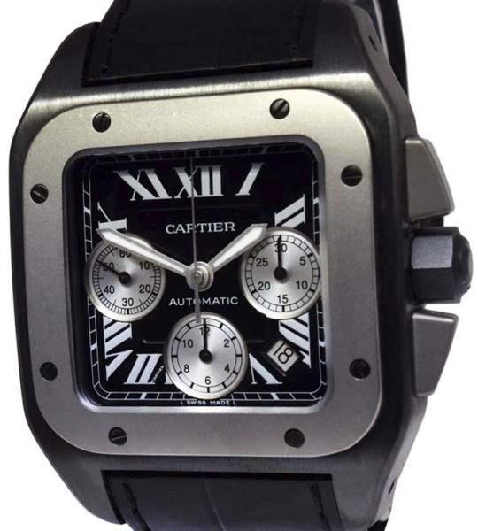 Cartier Santos 100 W2020005 Carbon Titanium & Stainless Steel 42mm Mens Watch