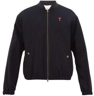 Ami Logo-patch Wool-blend Bomber Jacket - Mens - Navy
