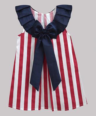 A.T.U.N. Girls' Casual Dresses red - Red Stripe Navy Charlie Yoke Dress - Toddler & Girls