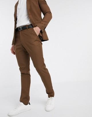 New Look skinny suit pant in dark camel