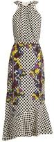 Saloni Ruby polka-dot and floral-print silk dress