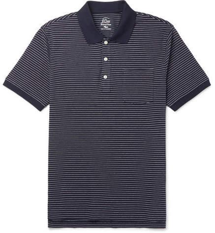 J.Crew Striped Stretch-Cotton Pique Polo Shirt