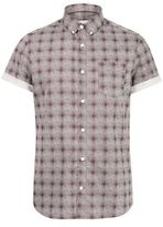 Burton Mens Burgundy Short Sleeve Check Print Shirt
