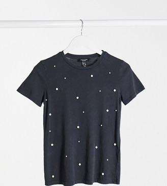 New Look Petite faux pearl embellished t-shirt in grey