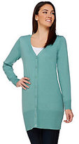 As Is Denim & Co. Button Front Long Sleeve Tunic Cardigan
