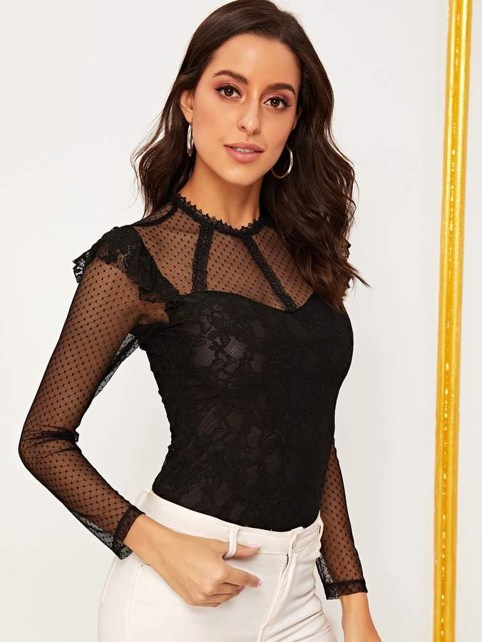 fbd5aa292ca1 Dotted Mesh Bodysuit - ShopStyle