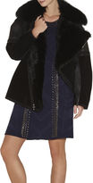 Herve Leger Spencer Fox-Collar Oversized Suede Jacket