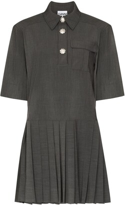 Ganni Crystal-Button Mini Shirtdress