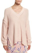 See by Chloe Oversized V-Neck Pullover Sweater, Pink