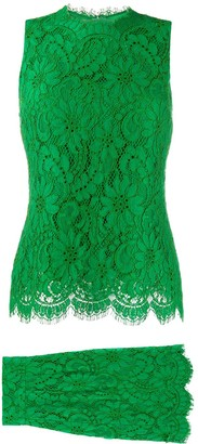 Dolce & Gabbana Pre Owned Tiered Lace Dress