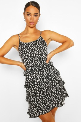 boohoo Mix Floral Dot Ruffle Tiered Cami Swing Dress