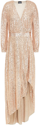 Just Cavalli Asymmetric Sequined Tulle Wrap Gown