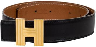 One Kings Lane Vintage Hermes Reversible Gold & Black H Belt - Vintage Lux