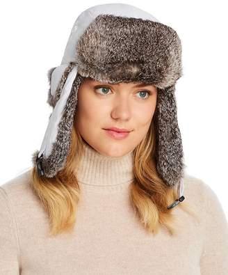Crown Cap Rabbit-Fur Trim Aviator Hat