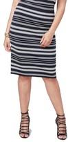 Rachel Roy Plus Size Women's Stripe Stretch Knit Pencil Skirt
