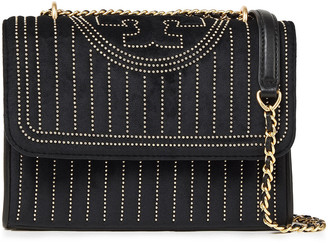 Tory Burch Fleming Tasseled Studded Suede Shoulder Bag