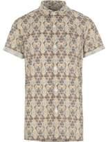 River Island Boys cream aztec print short sleeve shirt