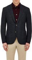 Luciano Barbera Men's Glen Plaid Wool-Silk Two-Button Sportcoat-NAVY