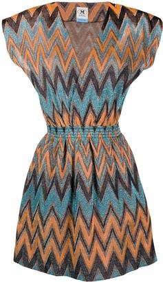 M Missoni Metallic Chevron-Pattern Dress