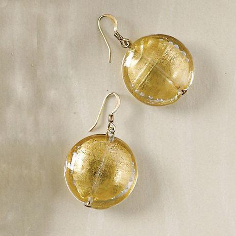 Murano Gold Foil Disc Earrings