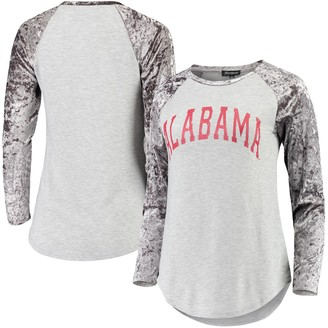Women's Gray Alabama Crimson Tide A Little Bit Softer Now Crushed Velvet Raglan Long Sleeve T-Shirt