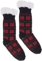Wanted Women's Snowflake Thermal Plush Knee High Slipper Socks (Blue)