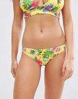 Asos FULLER BUST Exclusive Yellow Tropical Print Hipster Bikini Bottom