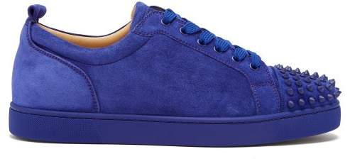 Christian Louboutin Louis Junior Spike Suede Trainers - Mens - Blue