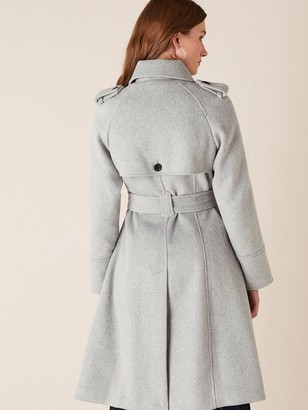 Monsoon Grey Sustainable Wool Trench Coat