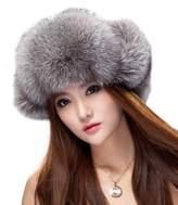 URSFUR Womens Fox Fur Russian Ushanka Trapper Hat with Pom Poms