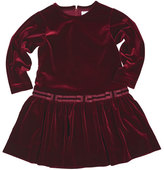 Florence Eiseman Stretch Velvet Dress w/Bows, Burgundy, Size 7-10