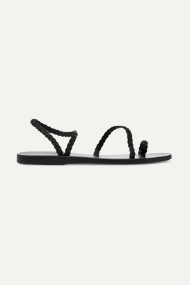 Ancient Greek Sandals Eleftheria Braided Leather Sandals - Black