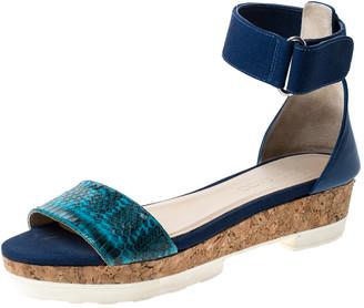 Jimmy Choo Blue Watersnake Neat Ankle Strap Cork Wedge Platform Sandals Size 38.5