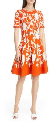 Oscar de la Renta Floral Jacquard Sweater Dress