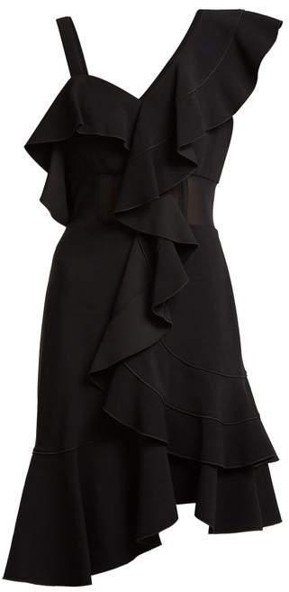 Proenza Schouler Ruffle One-shoulder Stretch-cady Dress - Womens - Black