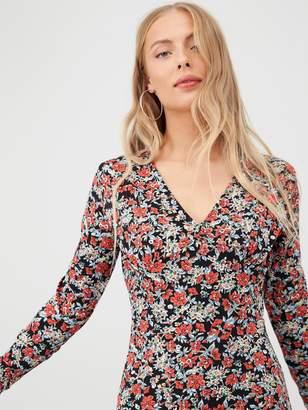 Very Floral V-Neck Midi Dress - Multi