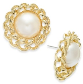 Thalia Sodi Gold-Tone Imitation Pearl Button Stud Earrings, Created for Macy's