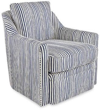 One Kings Lane Chelsea Swivel Chair - Indigo Stripe