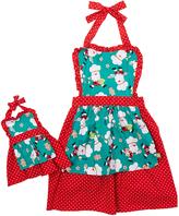 Dollie & Me Red & Green Santa Apron & Doll Apron - Girls